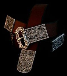 Valsgaerde Belt Set Based on Valsgaerde Helmet Panels  Hefty Plates with interlaced mirrored Beasts  Jelling Style  10th Century, Uppland, Sweden
