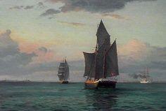 Barcos a vela, pintura danesa  por Olsen.