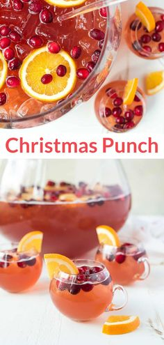 An easy, refreshing recipe for Sparkling Christmas Punch for a crowd! With champagne, rum, cranberry, and cider. Not too sweet and perfect for parties! #holiday #drinks #winterdrinks #nonalcoholic #alcoholic @wellplated