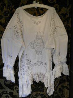 Vintage Battenburg lace Pirate shirt
