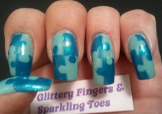 Autism Awareness Nails - Blue Puzzles. I love nail art.  And there's no better reason to decorate your nails than to show support for a good cause!