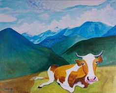 The Cow that jumped over the Moon Original by FreelyExpressed, $300.00
