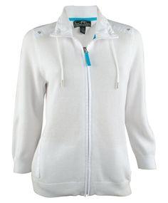 Lauren Ralph Lauren Active Women's Three Quarter Sleeve White Zip-Up Jacket L #LaurenbyRalphLauren #Cardigan