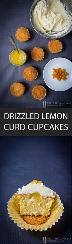 Drizzled Lemon Curd Cupcakes - {NEW RECIPE} Drizzled Lemon Curd Cupcakes looks fabulous, taste fabulous and are easy to make. Beautiful photos and lots of tips included on how to get best results! Gourmet Recipes, New Recipes, Delicious Recipes, Dinner Recipes, Lemon Curd Cupcakes, My Favorite Food, Favorite Recipes, Cupcake Cases, Gourmet Cupcakes