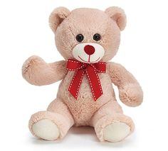 """Beige plush bear with red grosgrain ribbon and red nose. Has easy tie ribbon loop.  Measures 7"""" Tall sitting."""