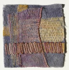 Stitch Sample by Fiona Rainford. Fibre and thread dyed with natural dye extracts. Dry needle felting. Hand stitching.
