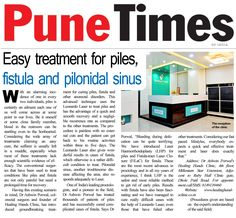 Newspaper article of #HealingHandsClinic in Pune Times, dated 01-09-2016, asserting the advantage of #LASER in the treatment of various #anorectal disorders.  www.healinghandsclinic.co.in