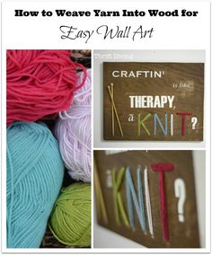 """It's true: Craftin' is like therapy, ain't it? ……Well, in this case, it's more like """"a-KNIT?""""  Wendy from H2O Bungalow asked me to be a part the One Power Tool Challenge (using a power drill) and I wanted to create something a little out-of-the-box with the drill. I've been dying to lace yarn through …"""
