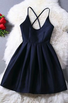 Spaghetti Straps Navy Blue Homecoming Bacjless Short Mini Satin Cocktail Party Dresses prom - Shops Hive