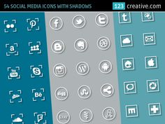SOCIAL MEDIA ICONS WITH SHADOWS - contains 54 flat social media icon signs in 3 versions (round icons, square icons and 2 square variations of icons. Icons created for: Facebook, Istagram, Google plus, Pinterest, Skype, Soundcloud,  Twitter, Behance, Dribbble, Yahoo - Download here: http://www.123creative.com/web-elements-website-buttons-and-icons/1217-54-social-media-icons-with-shadow-in-3-versions.html