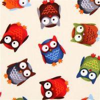cream owl fabric Timeless Treasures forest animal fabric
