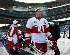 Nicklas Lidstrom walks out onto Wrigley Field for practice the day before the NHL Winter Classic at Wrigley Field in Chicago, Dec. 30, 2008.
