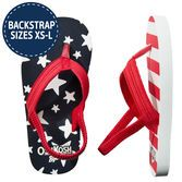 Perfect for a backyard barbecue or a day on the lake, these flip flops will keep her festive on the 4th of July. Pair them with a red, white and blue swimsuit for the ultimate Independence Day style!<br>