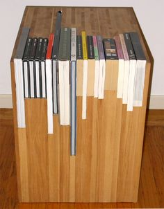 Custom Stacked Book Side Table by janedandy on Etsy - This looks cool, but I think it's silly. Custom Bookshelves, Creative Bookshelves, Bookshelf Design, Bookcases, Book Table, Coffee Table Books, Design Furniture, Wood Furniture, Wooden Side Table