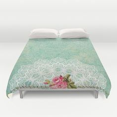#pretty #vintage #roses #duvetcover in different products & designs. Check more at society6.com/julianarw