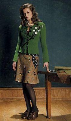 RARE Anthropologie 2008 Wool Finch Skirt w/Polka Dot Belt Lined Elevenses M 10