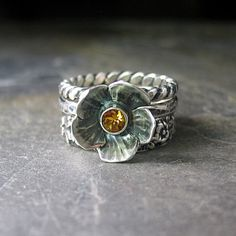 Sterling silver flower ring with citrine door LavenderCottage, $72.00