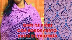 Shawl o Chal de Piñas a Crochet con Borde punto Nudo de Solomon - Ganchi...