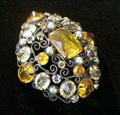 RARE 1950's Vintage Schreiner of New York Signed Domed Inverted Rhinestone Pin | eBay
