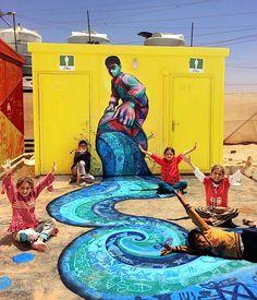 Joel Bergner on Art & Life in Jordan's Za'atari Syrian Refugee Camp Syrian Refugee Camps, Syrian Refugees, Mural Painting, Mural Art, Murals, Collaborative Art, Street Art Graffiti, Jordan, Public Art