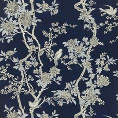 The wallpaper Marlowe Floral Prussian Blue - from Ralph Lauren is wallpaper with the dimensions m x m. The wallpaper Marlowe Floral Prussian Chinese Wallpaper, New Wallpaper, Fabric Wallpaper, Wallpaper Patterns, Wallpaper Designs, Wallpaper Ideas, Ralph Lauren Fabric, Chinoiserie Wallpaper, Chinoiserie Chic