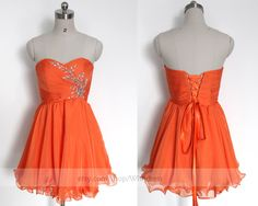Handmade Beaded Sweetheart Short Prom Dress/ Formal Cocktail Dress/ Formal Party Dress/ Orange Homecoming Dress /Sweet 16 Dress By Wishdress by Wishdress on Etsy https://www.etsy.com/listing/217919480/handmade-beaded-sweetheart-short-prom