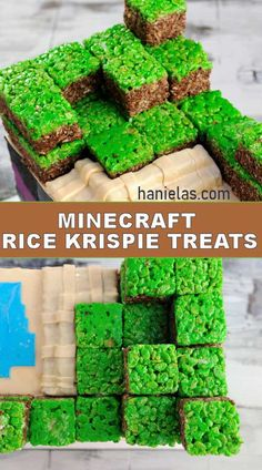 Minecraft Rice Krispie Treats Need a last minute treat for a Minecraft Birthday Party? Try my easy to make Minecraft Rice Krispie Treats. Diy Minecraft Birthday Party, Minecraft Party Decorations, Rice Krispy Treats Recipe, Rice Krispie Treats, Halloween Snacks For Kids, Halloween Treats, Minecraft Food, Minecraft Recipes, Minecraft Cookies