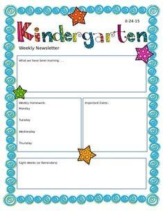 Weekly Kindergarten Newsletter Template  Parents Happenings And