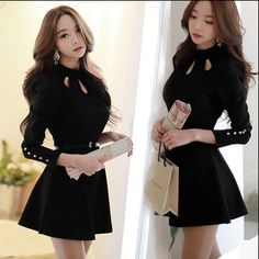 "Long sleeve fashion sweet dress,Long sleeve dress,black fashion sweet dress. Use this coupon code ""Edin"" to get all 10% off!"