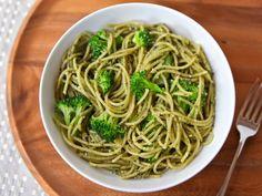 Broccoli Pesto Pasta Recipe Main Dishes with spaghetti, broccoli, pesto, extra-virgin olive oil, grated parmesan cheese, salt