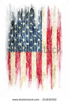t-shirt graphics / Vintage watercolor of American flag, Photo illustration / men's t-shirt illustration - stock photo