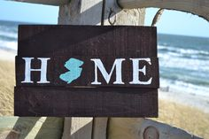 Reclaimed Wood Sign, Wall Art, Handmade,Home NJ Shape of state, Wedding, Birthday, Gift, Christmas by MomsGoneMad on Etsy