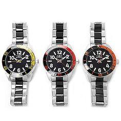 Invicta 45mm Set of Three Hydro Diver Quartz Stainless Steel Bracelet Watches w/ 3-Slot Dive Case