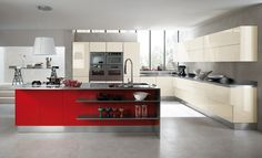 Modern Kitchen Offers Refined with Innovative Space Solutions With Grey Wall Glass Window Hanging Lamps Cream Cabinet Table Stove Oven Red Table Bar Wastafel Ceramic Floor Red Kitchen Cabinets, Unique Kitchen, Modern Kitchen, Kitchen Cabinets, Red Kitchen, Kitchen Design, Contemporary Kitchen, Kitchen Inspirations, Kitchen