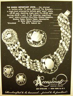 1952 Accessocraft jewelry ad 'The single important jewel...'