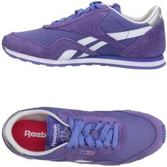 Reebok Low-tops & Sneakers (1,295 MXN) ❤ liked on Polyvore featuring shoes, sneakers, purple, rubber sole shoes, leather sneakers, leather trainers, reebok shoes and reebok trainers
