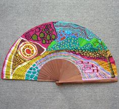 "Abanico pintado a mano de la serie ""Paisajes imaginarios"". Un abanico, una obra de arte. #abanicospintadosamano #abanicosmodernos #abanicosespañoles #abanicosartesanales"