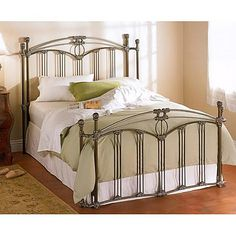 Wesley Allen Wrought Iron Bed Frame! Check out those return posts!!! Completely in love! #BedFrame
