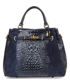 Look what I found on #zulily! Blue Lock-And-Key Leather Satchel #zulilyfinds