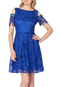 Tahari ASL Cobalt Lace Cold Shoulder Dress