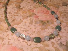 SemiPrecious Gemstone Necklace  Green Jade by #RomanticThoughts