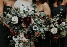 Break tradition by using chic dark and moody florals at your fall or winter wedding, like these lovely berry bridesmaid bouquets!