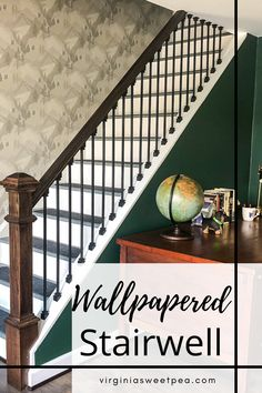Wallpapered Stairwell - Reveal of a stairwell wallpapered with Brewster Wallpaper Range Light Grey Mountains. #wallpaper #wallpaperedstairwell #wallpaperproject #lakehouse #lakehousedecor #smithmountainlake #brewsterwallpaper How To Install Wallpaper, Diy Wallpaper, Basement House, Basement Ideas, Wooden Scaffolding, Lake House Bathroom, Brewster Wallpaper, Oak Beds, Painting Trim
