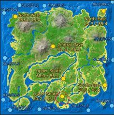 Ark Survival cave locations Ark Evolution, Ark Survival Evolved Tips, Evolve Wallpapers, Evolve Game, Island Map, Location Map, Black And Grey Tattoos, Geek Stuff, Artwork