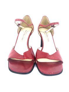 cb3e1086cdf6 Bandolino Womens Shoes Size M maroon red kitten Heel Casual slip on open toe