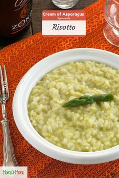 Cream of Asparagus and Spumante Risotto - a creamy and healthy vegetarian risotto.
