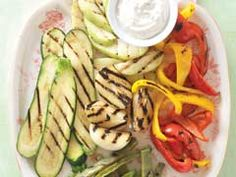 Spicy Grilled Vegetables with Roasted Garlic & Jalapeño Dip Recipe - Kraft Recipes