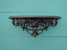 """Wall Shelf ornate baroque Hollywood regency Paris apartment French Gothic vintage large metallic silver """"Cold"""""""