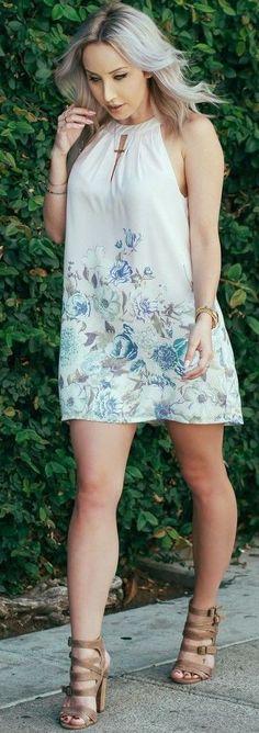 #summer #popular #outfitideas Pastel Floral Halter Dress