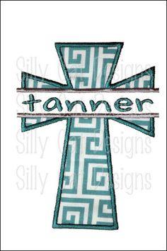 Split Cross Applique Machine Embroidery Design. $3.50, via Etsy.